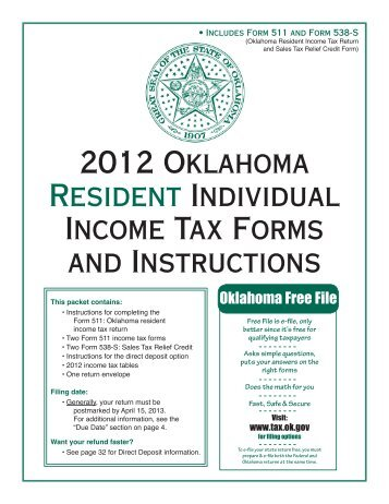 2012 oklahoma resident individual income tax forms and instructions