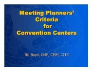 Criteria for Convention Centers - City of Oklahoma City