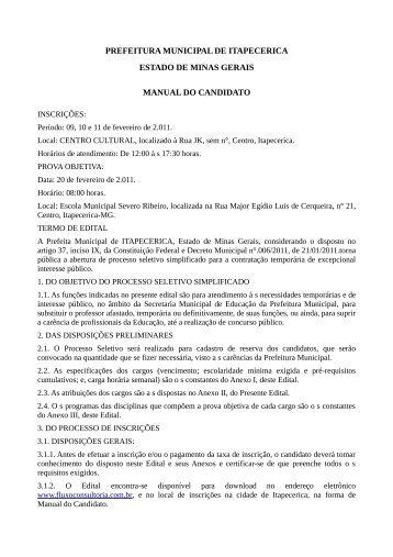 prefeitura municipal de itapecerica estado de minas gerais manual ...
