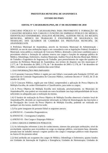 PREFEITURA MUNICIPAL DE ANANINDEUA ESTADO DO PARÁ ...