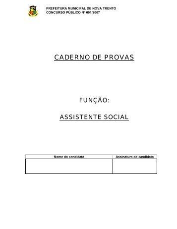 CADERNO DE PROVAS - Concursos Públicos