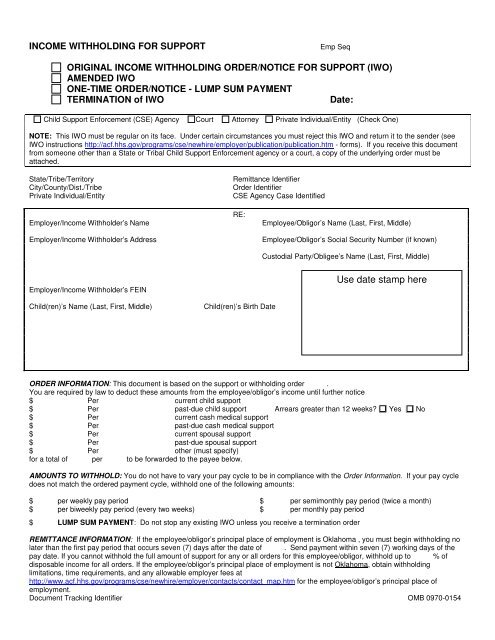 Order/Notice to Withhold Income for Child Support (Form 03EN004E)