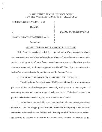 Second Amended Permanent Injunction - Oklahoma Department of ...