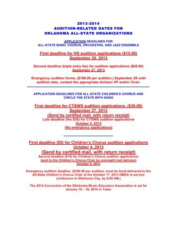 2013-2014 ALL-STATE AUDITION DATES - Oklahoma Music ...