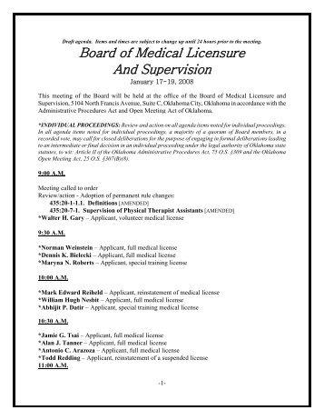 医療免許と監督のオクラホマ州議会