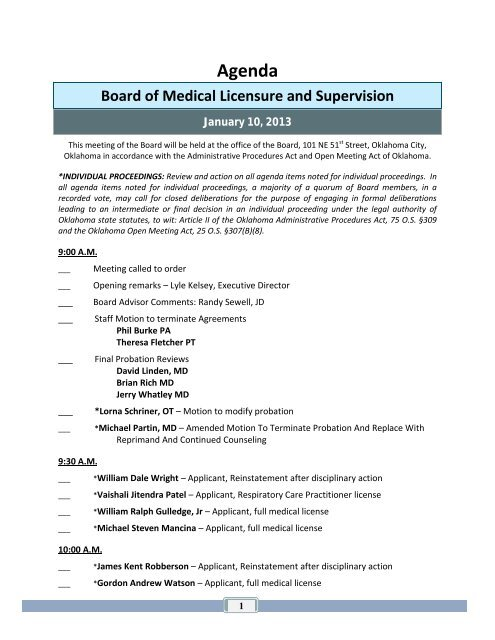 Agenda - Oklahoma Board of Medical Licensure and Supervision
