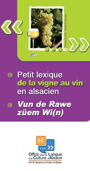 Télécharger le lexique de la vigne au vin en alsacien - Olca