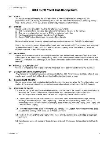 2013 OYC Racing Rules - Olcott Yacht Club
