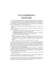 ACTA AGROPHYSICA