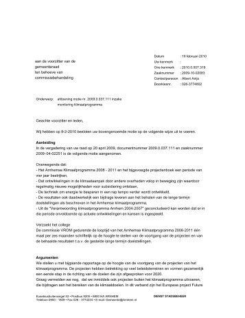 Afdoening motie monitoring klimaatprogramma - Gemeente Arnhem