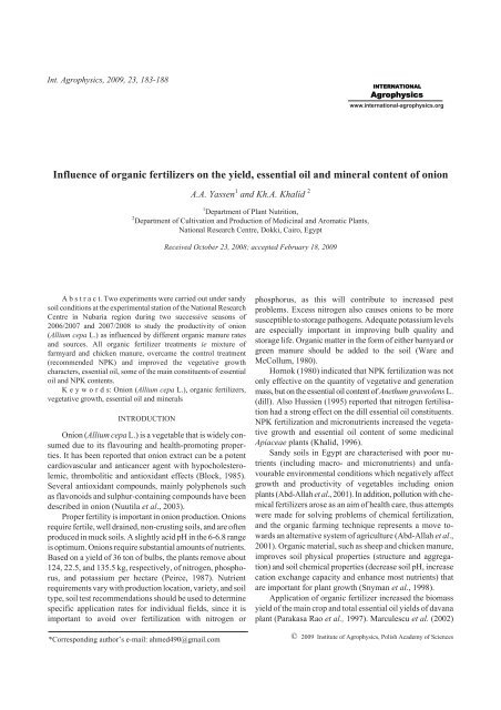 Influence of organic fertilizers on the yield ... - Acta Agrophysica