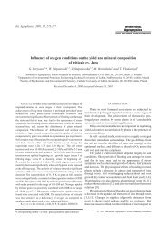 Influence of oxygen conditions on the yield and mineral composition ...
