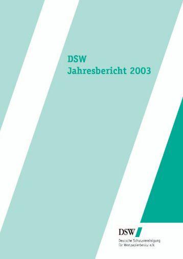 Anlegerschutz 2003 - DSW