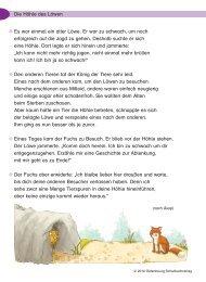 Die Höhle des Löwen Es war einmal ein alter Löwe. Er war zu ...