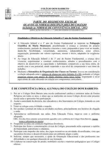PARTE DO REGIMENTO ESCOLAR QUANTO AS NORMAS ...