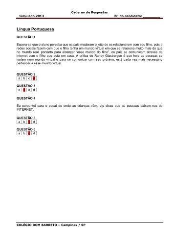 Gabarito do Simulado das 8ªs séries. - Colégio Dom Barreto