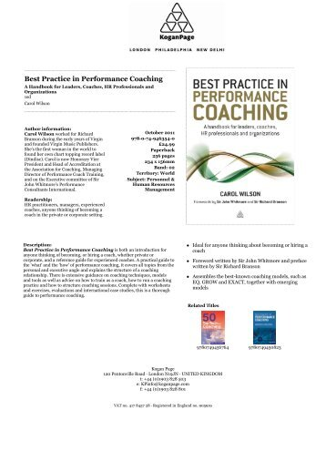 Best Practice in Performance Coaching - Kogan Page