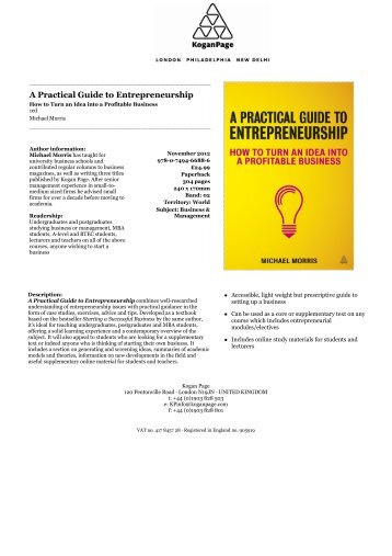 Practical Guide to Entrepreneurship - Kogan Page