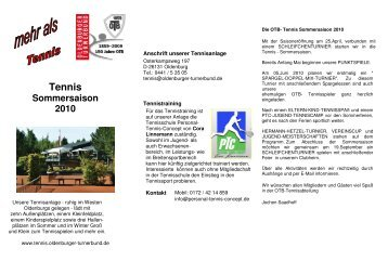 Info Tennis - Oldenburger Turnerbund