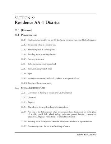 Section 22.Residence AA-1 District - Town of Old Saybrook