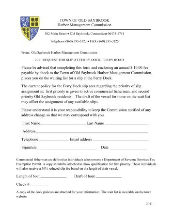 2011 Ferry Dock Wait List Application - Town of Old Saybrook