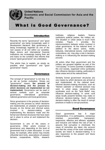 major characteristics of good governance 1 good governance: a study of the concept in indian context dr dinesh arora assistant professor, pg department of political science dav college, jalandhar (pb.
