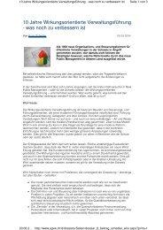 10 Jahre Wirkungsorientierte Verwaltungsführung - was noch zu ...
