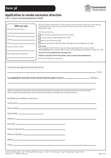 Form 3E Application to Revoke Exclusion Direction - Office of Liquor ...