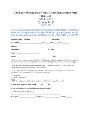 Manual Registration Form - Our Lady of Guadalupe