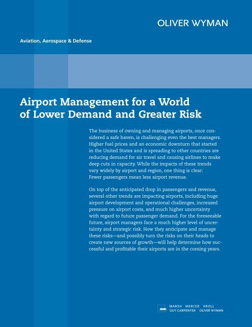 Mercer Fuel Prices >> Airport Management For A World Of Lower Demand Oliver