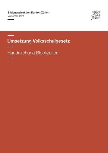 Handreichung Blockzeiten - Kanton Zürich