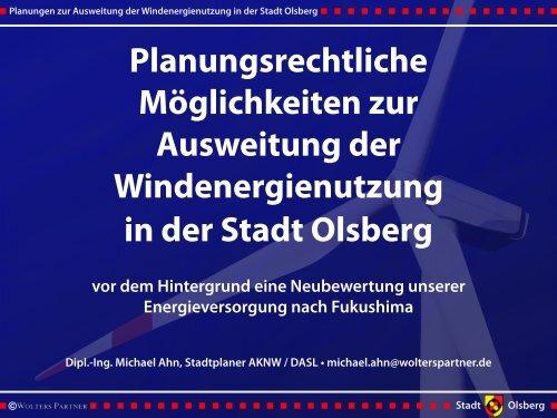 Planungsrechtliche Möglichkeiten zur Ausweitung der ... - Olsberg