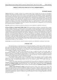 ORIGIN AND EVOLUTION OF ACTUAL BIODIVERSITY