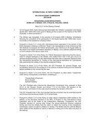 IOC Disciplinary Commission decision regarding Adam Seroczynski