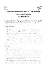 seminaire regional sur le sport et l'environnement recommandations