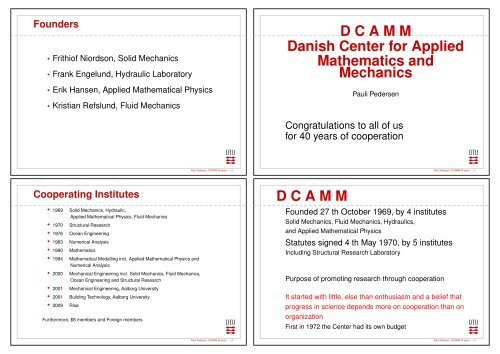 DCAMM Danish Center for Applied Mathematics     - Solid