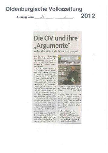 Wirtschaftsmagazin argumente 2012 - Verbund Oldenburger ...