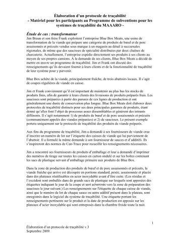 Élaboration d'un protocole de traçabilité - Ontario Ministry of ...
