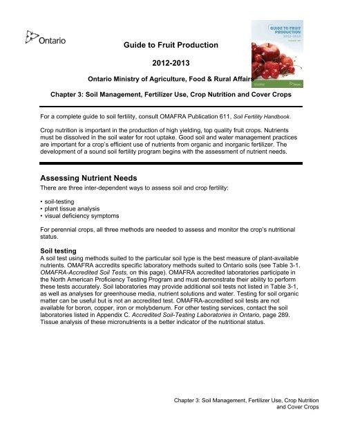 Soil Management, Fertilizer Use and Crop Nutrition - PDF 194 kb