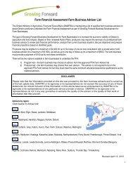 Farm Financial Assessment Farm Business Advisor List
