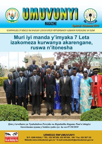umuvunyi magazine special 2010 - Office of the Ombudsman