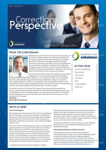 Corrections Perspective - March 2013 - Queensland Ombudsman