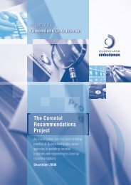 Coronial Recommendations Project - Queensland Ombudsman ...