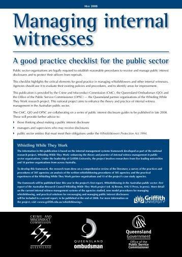 Managing internal witnesses - Queensland Ombudsman