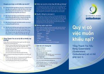 Quý vị có việc muốn khiếu nại? - Queensland Ombudsman