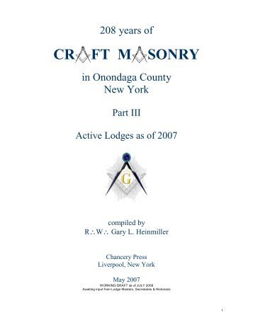 Craft Masonry in Onondaga County, Part III, Active Lodges as of 2007