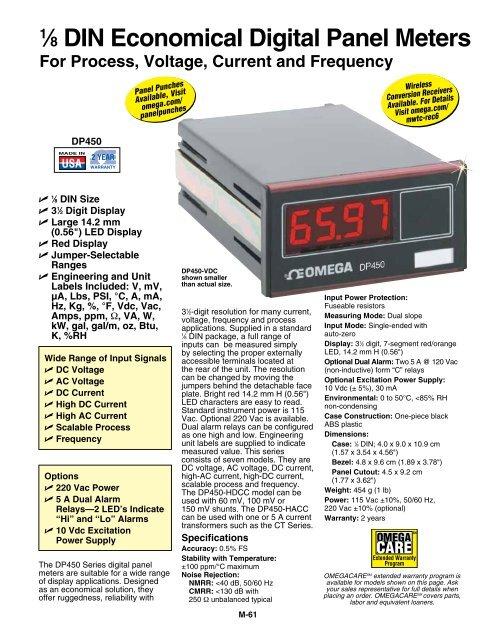 1/8 DIN Low Cost Digital Panel Meter - Omega Engineering