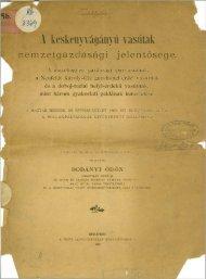 A keskenyvágányú vasutak nemzetgazdasági jelentősége. 1893.