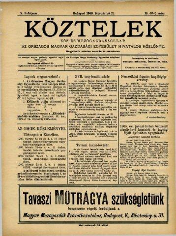 KÖZTELEK - Országos Mezőgazdasági Könyvtár
