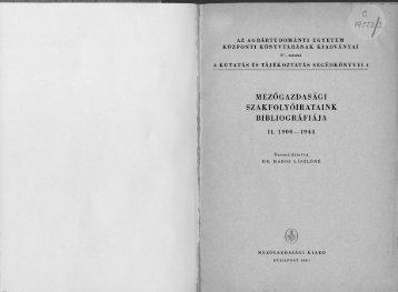 mezőgazdasági szakfolyóirataink bibliográfiája - Országos ...